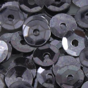 Sequins, grey, Diameter 4mm, 2050 pieces, 10g, Faceted Discs, Sequins are shiny, [CZP250]